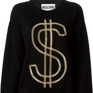 MOSCHINO - Black Wool Sweater dress gold dollar